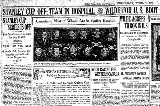 Эпидемия угрожает Кубку Стэнли сто лет спустя