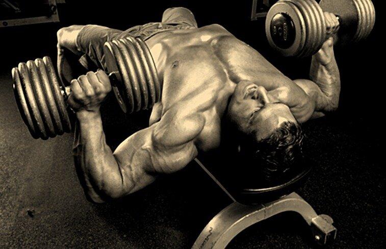 Как правильно делать жим гантелей лёжа на горизонтальной скамье? Для мощной проработки грудных мышц