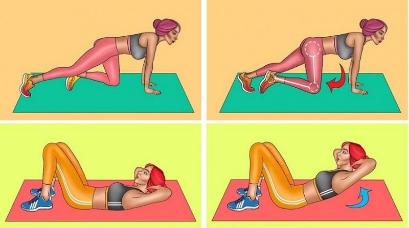 Энергозатратная тренировка на полу против обвисшего живота и дряблых ног за 7 минут в день без инвентаря