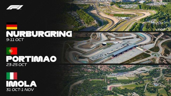 В календаре Формулы-1 2020 года появились ещё три этапа