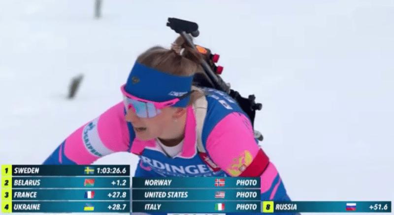 Россиянки имели шансы на медаль, но заняли восьмое место в эстафете, ещё подпустили белорусок в Кубке Наций